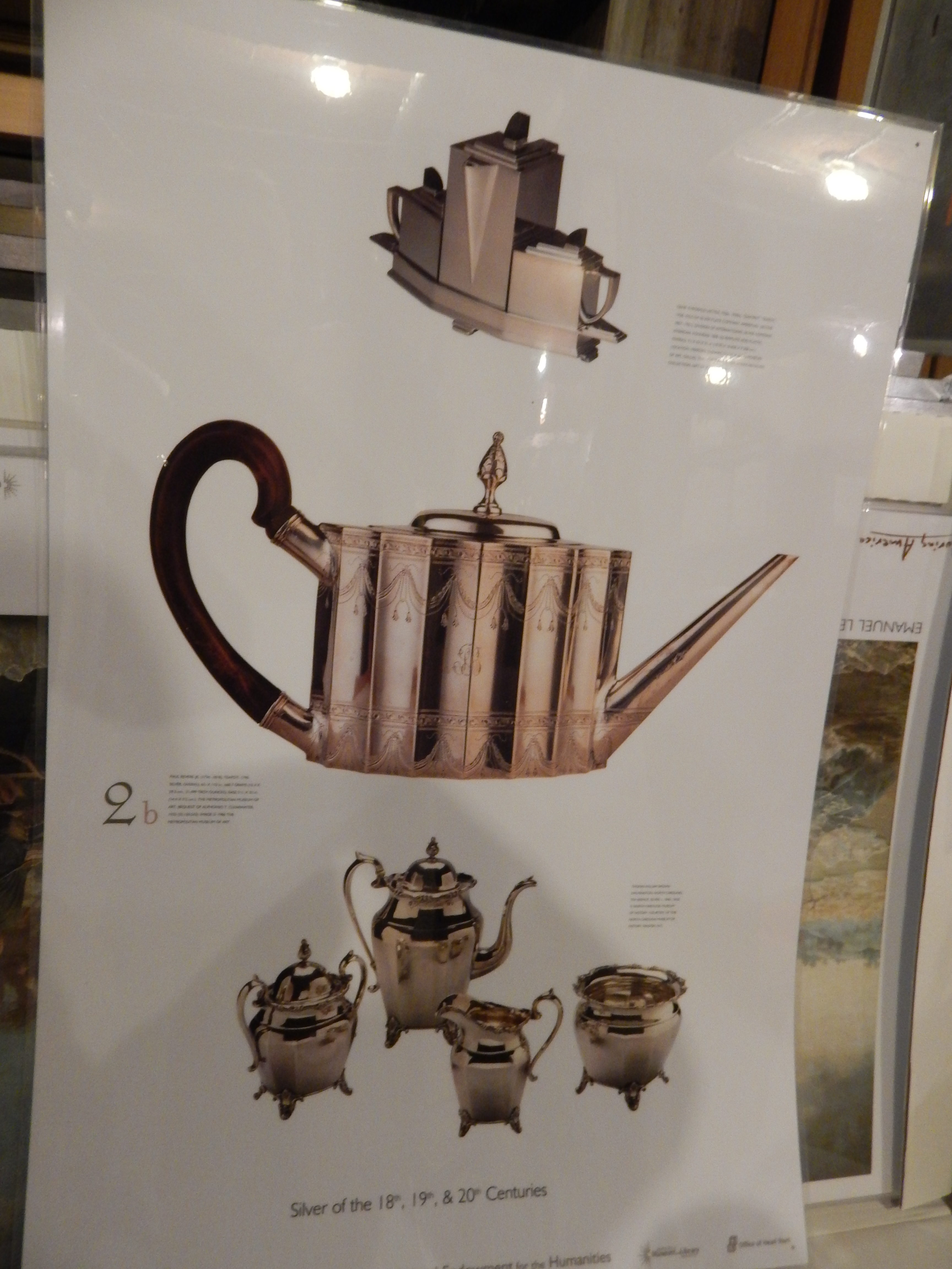 Photo of silver tea/coffee items from the 18th, 19th, and 20th centuries.