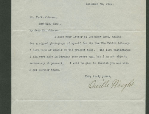 Letter – Orville Wright, American Aviation Pioneer