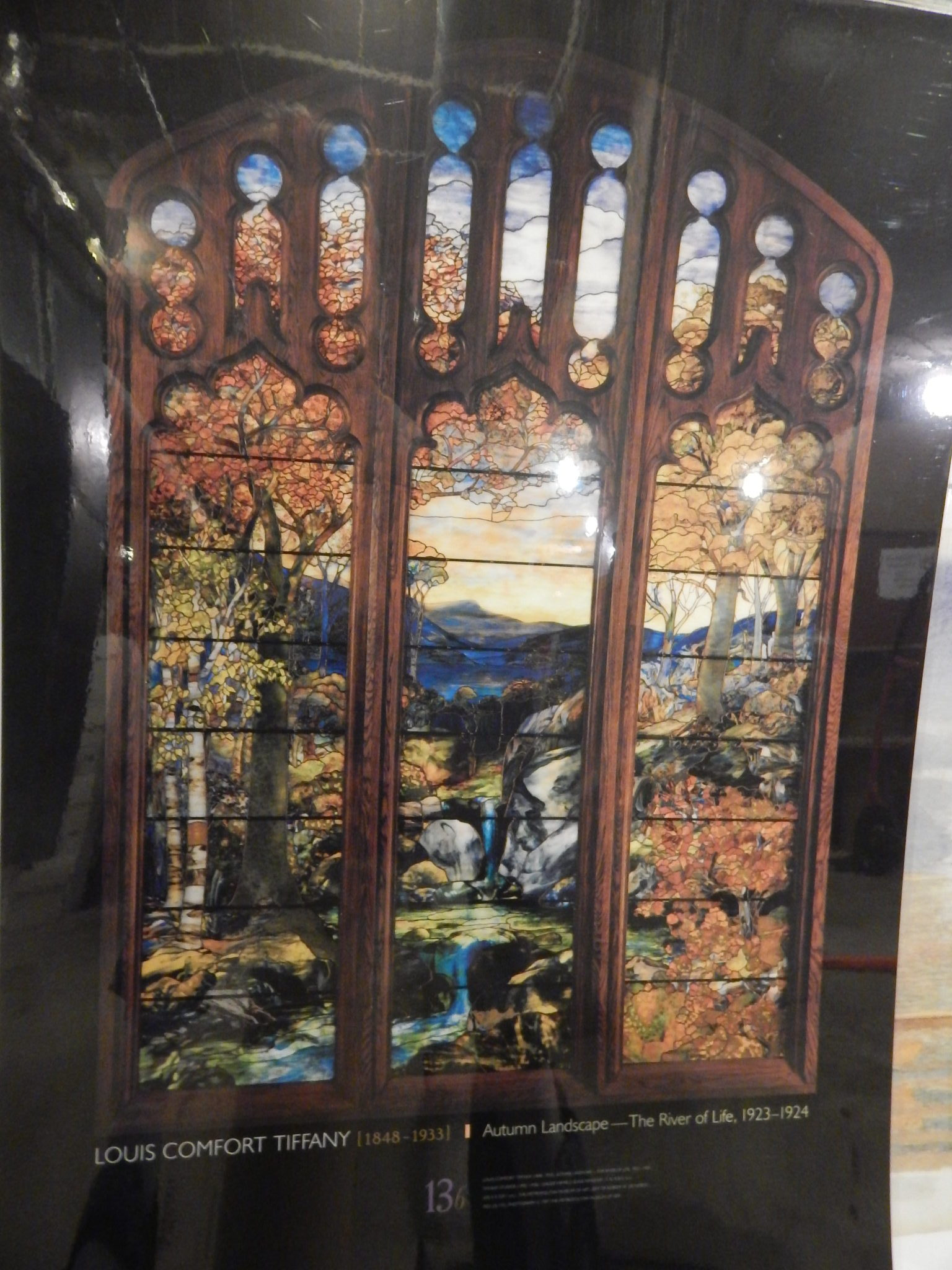 "photo of Tiffany's stained glass creation ""Autumn Landscape - The River of Life"""