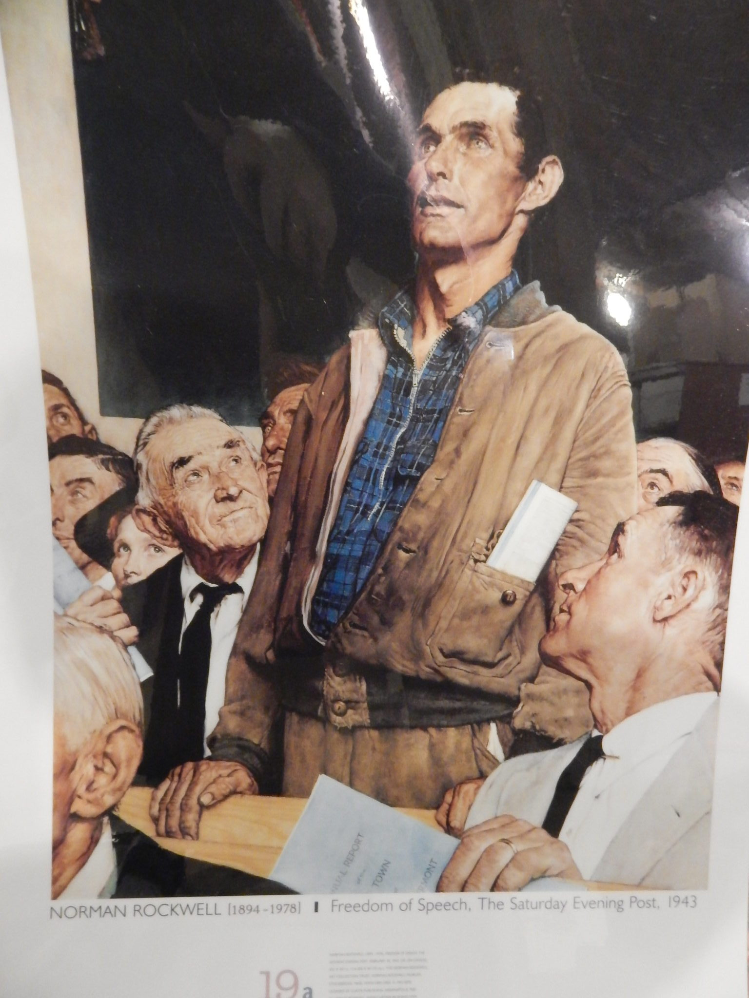 "photo of Norman Rockwell's oil painting ""Freedom of Speech, 1943"""