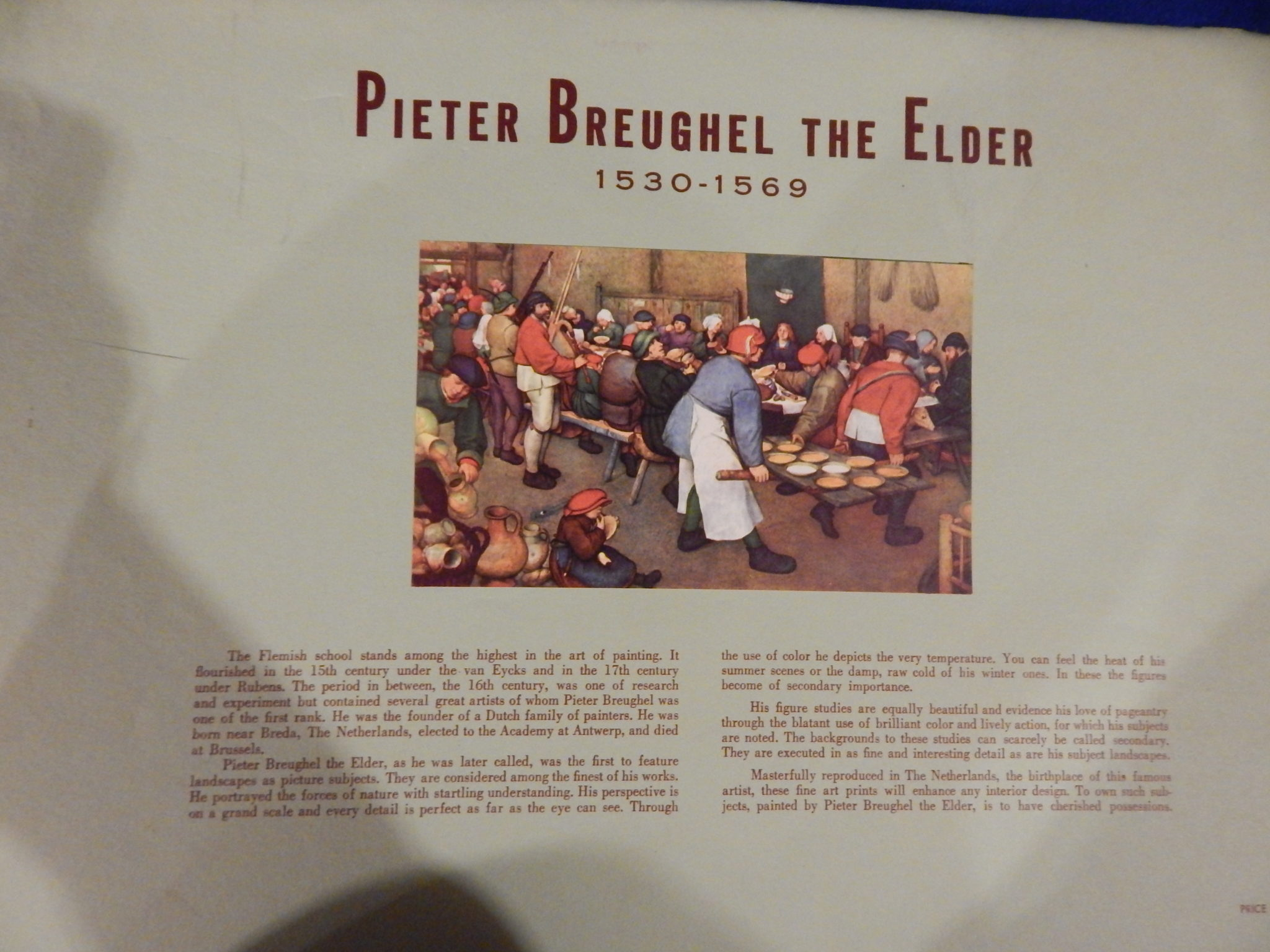Pieter Breughel the Elder set of unframed prints