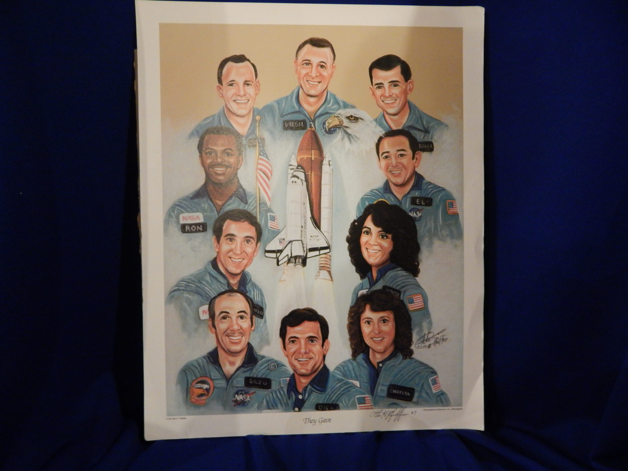 Space Shuttle Columbia personnel, print by Otto Pfeiffer