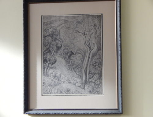 """Upright Landscape"" – framed 1926 Wanda Gag lithograph"