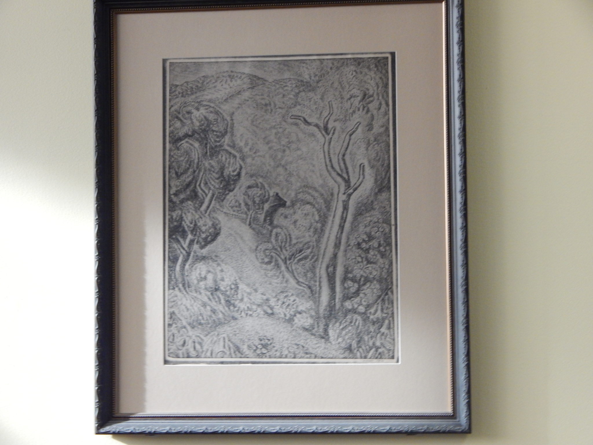 "framed 1926 Wanda Gag lithograph ""Upright Landscape"""