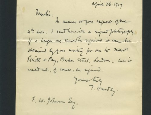 Letter – Signed Letter from Thomas Hardy, English Poet and Novelist